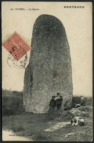 This is a postcard of the Glomel menhir no less